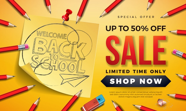 Back to school sale banner with graphite pencil and sticky notes on yellow