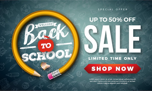 Back to school sale banner with graphite pencil and typography letter on black chalkboard