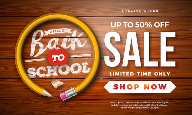 Back to school sale banner with graphite pencil and typography letter on vintage wood