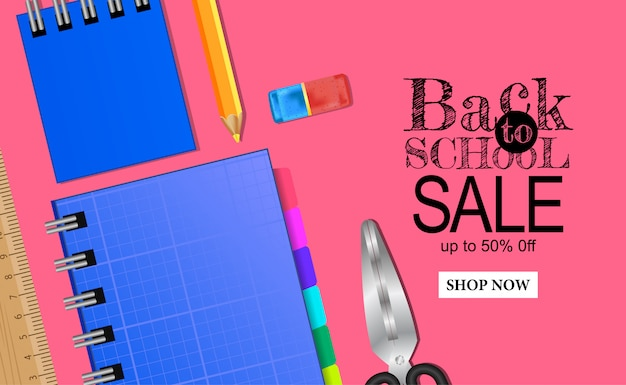 Back to school sale banner with notebook