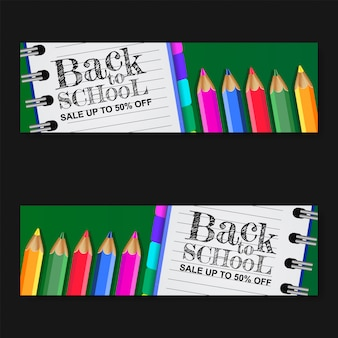 Back to school sale banner with paper and pencil color