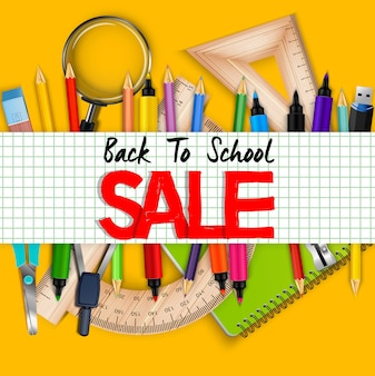 Back to school sale banner with realistic stationary