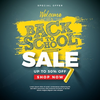 Back to school sale banner with typography letter and chalk on chalkboard