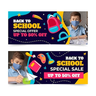 Back to school sale banners set with photo