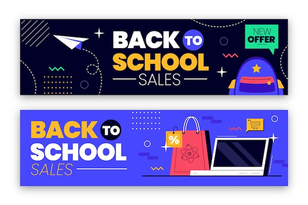 Back to school sale banners set