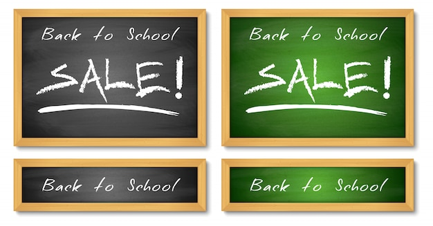 Back to school sale banners. wooden green and black chalkboard backgroundsn.