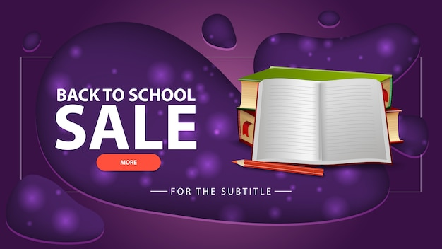 Back to school sale, blue discount banner with school textbooks and notebook
