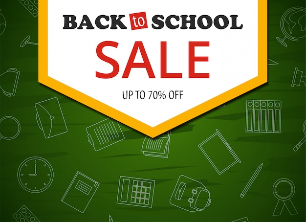 Back to school sale colorful banner on green background