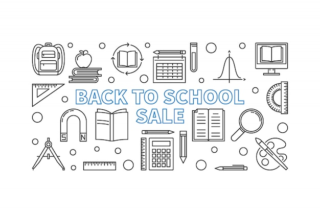 Back to school sale concept outline banner