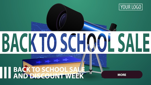 Back to school sale, creative green discount web banner for your website with telescope