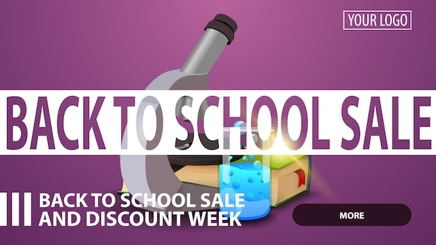Back to school sale, creative purple discount web banner for your website with microscope