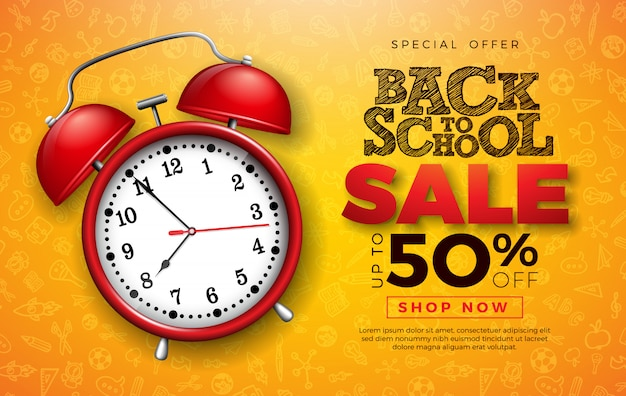 Back to school sale design with red alarm clock and typography letter on hand drawn doodles background.