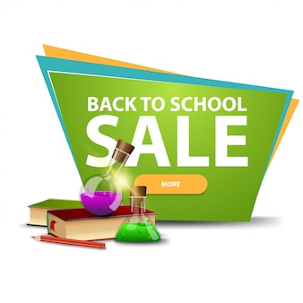 Back to school sale, discount banner with a button, books and chemical flasks