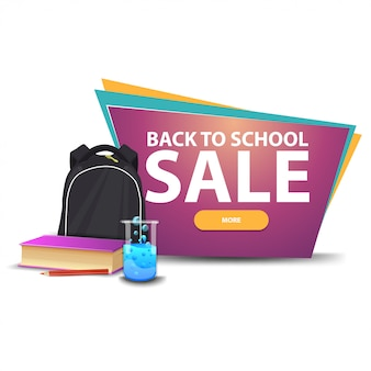 Back to school sale, discount banner with a button, school backpack, a book and a chemical flask