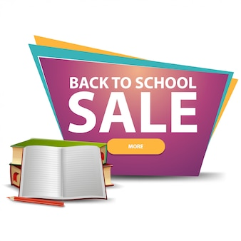 Back to school sale, discount banner with a button