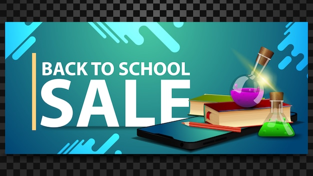 Back to school sale, discount horizontal banner with a smartphone, books and chemical flasks