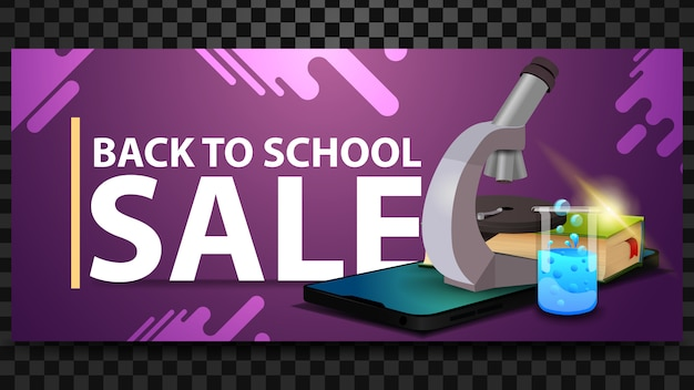 Back to school sale, discount horizontal banner with a smartphone, microscope, books and chemical flask