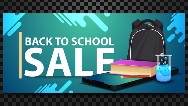 Back to school sale, discount horizontal banner with a smartphone