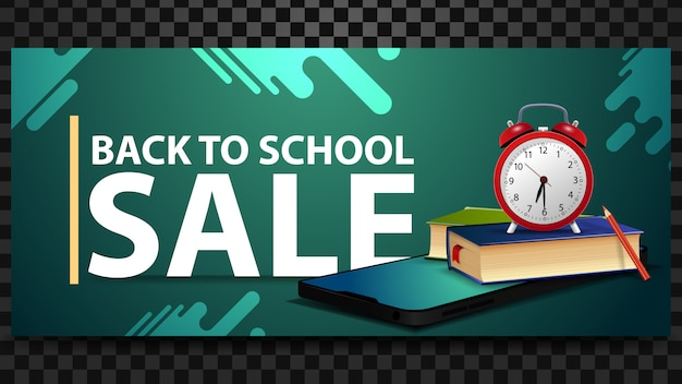 Back to school sale, discount horizontal banner