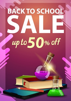 Back to school sale, discount vertical banner with a smartphone, books and chemical flasks