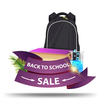 Back to school sale, discount web banner in the form of ribbons