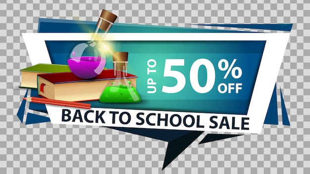 Back to school sale discount web banner in geometric style with books and chemical flasks
