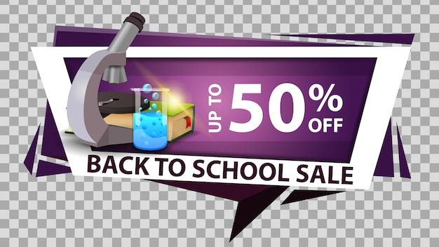 Back to school sale discount web banner in geometric style with microscope