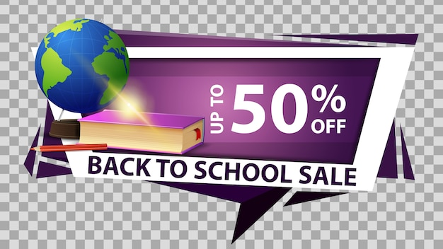 Back to school sale, discount web banner in geometric style