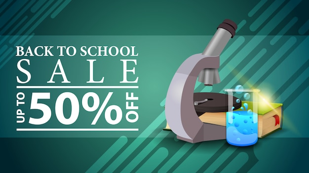 Back to school sale, discount web banner in a modern style with microscope, books and chemical flask