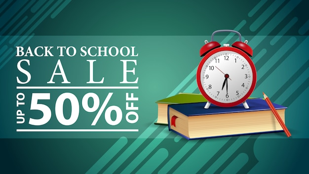 Back to school sale, discount web banner with alarm clock