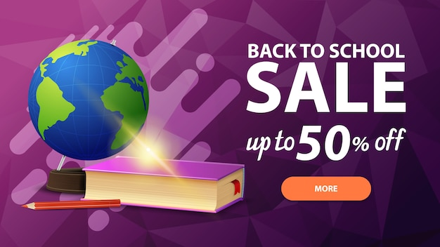 Back to school sale, discount web banner for your site in a modern style with button