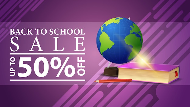 Back to school sale, discount web banner for your site in a modern style