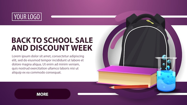 Back to school sale and discount week, banner with school backpack