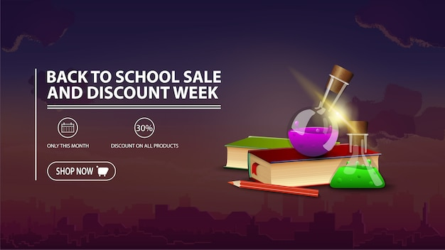 Back to school sale and discount week, discount banner with city on background