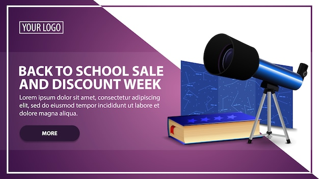 Back to school sale and discount week, discount web banner template for your website in a modern style with telescope