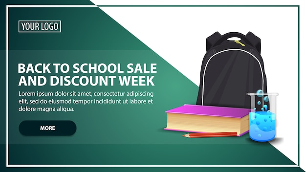 Back to school sale and discount week, discount web banner template for your website