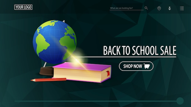 Back to school sale and discount week, green discount banner with polygonal texture