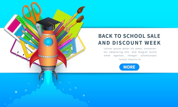 Back to school sale and discount week, horizontal banner with rocket.