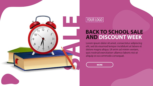 Back to school sale and discount week, horizontal discount banner