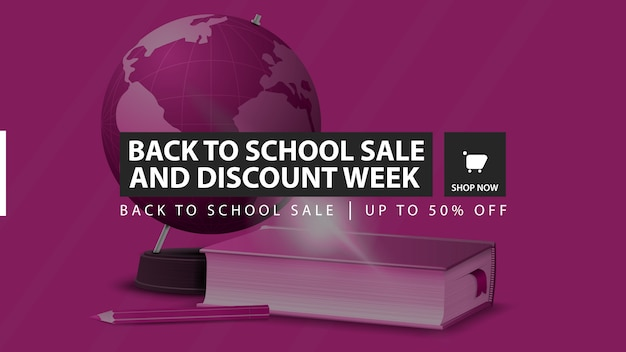Back to school sale and discount week, pink horizontal discount banner