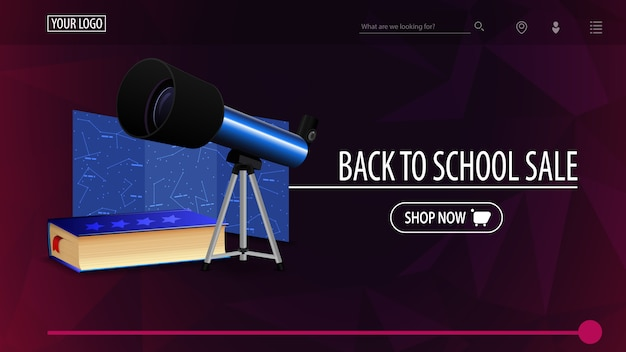 Back to school sale and discount week, purple discount banner with polygonal texture