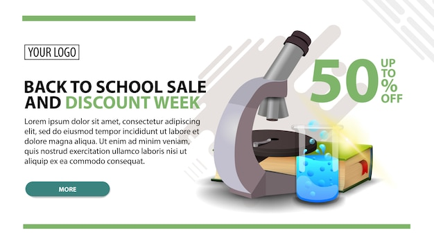 Back to school sale and discount week, white web banner in modern style