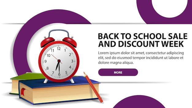 Back to school sale and discounts week, modern discount banner
