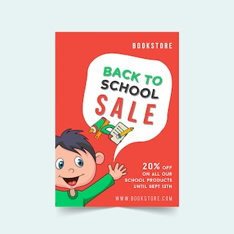 Back to school sale flyer template design with cartoon boy