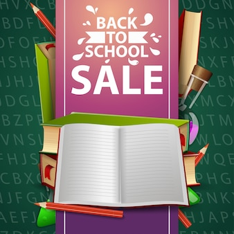 Back to school sale, green web banner with school textbooks and notebook