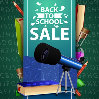 Back to school sale, green web banner