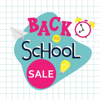 Back to school sale hand drawn lettering. elements for greeting card, poster, banners. notebook and sticker design