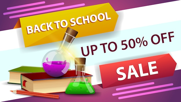 Back to school sale, horizontal discount web banner for your website