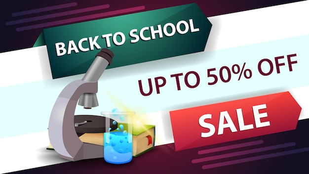 Back to school sale, horizontal discount web banner
