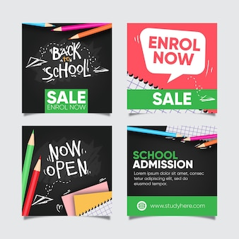 Back to school sale instagram post collection